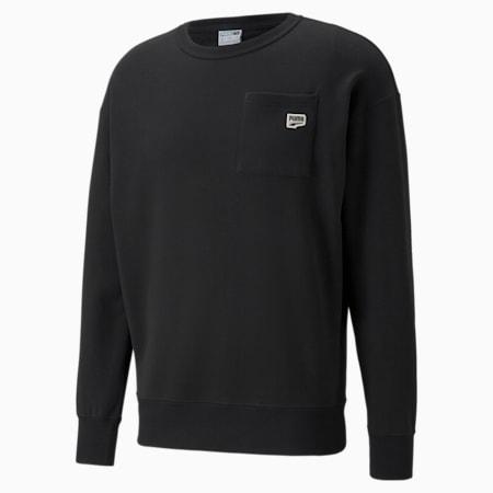 Downtown Crew Neck Men's Sweatshirt, Puma Black, small