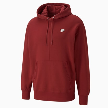 Downtown French Terry Men's Hoodie, Intense Red, small-GBR