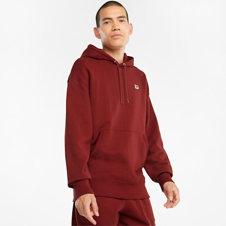 Downtown French Terry Herren Hoodie, Intense Red, small