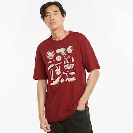 T-shirt con grafica Downtown uomo, Intense Red, small