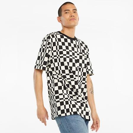 Męski T-shirt Downtown z nadrukiem w kratkę, Puma Black, small