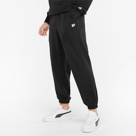 Męskie spodnie dresowe z bawełny pętelkowej Downtown, Puma Black, small
