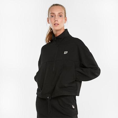 Downtown Half-Zip Women's Jacket, Puma Black, small-SEA
