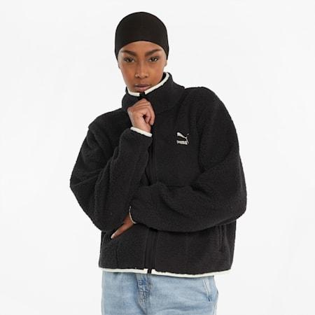 CLSX Sherpa Women's Track Jacket, Puma Black, small-GBR