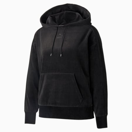 Iconic T7 Velour Women's Hoodie, Puma Black, small-GBR