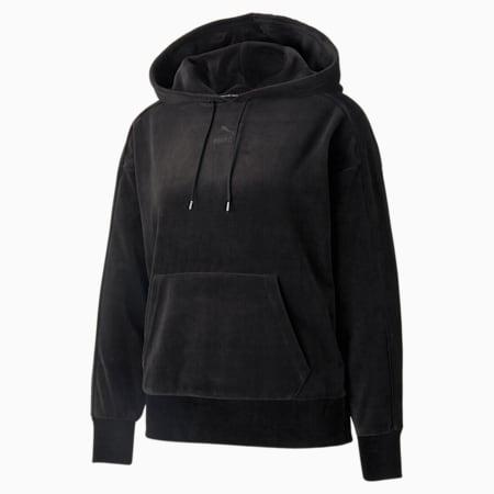 Sudadera con capucha Iconic T7 Velour para mujer, Puma Black, pequeño