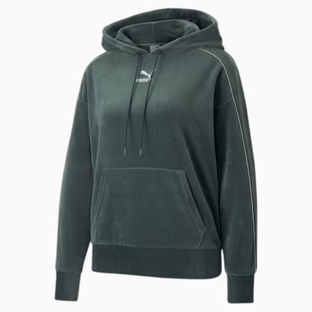 Iconic T7 Velour Women's Hoodie, Green Gables, small-GBR
