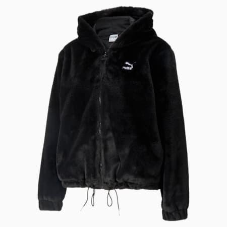 Sudadera con capucha con cierre completo Classics Fur para mujer, Puma Black, pequeño