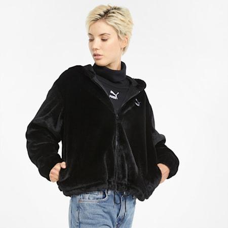 Classics Fur Full-Zip Women's Hoodie, Puma Black, small-GBR