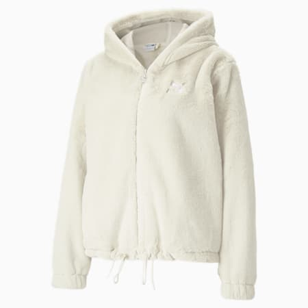 Classics Fur Full-Zip Women's Hoodie, Ivory Glow, small