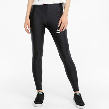 Błyszczące damskie legginsy Classics z wysokim stanem, Puma Black, small
