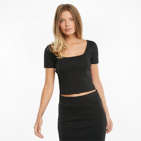 Classics Ribbed Fitted Damen T-Shirt, Puma Black, small