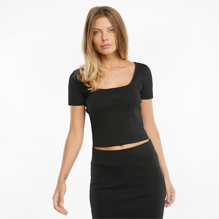Damski prążkowany T-shirt Classics o dopasowanym kroju, Puma Black, small