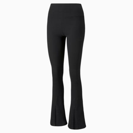 Pantalón acanalado con abertura Classics para mujer, Puma Black, pequeño