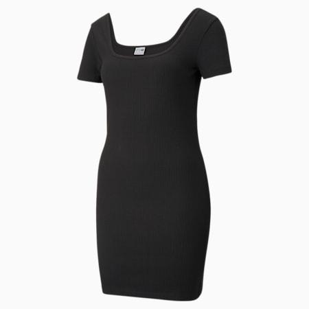 Damska prążkowana sukienka Classics, Puma Black, small