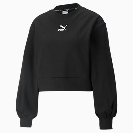 Classics Puff Sleeve Crew Neck Women's Sweatshirt, Puma Black, small-GBR