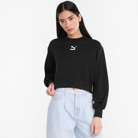 Classics Puff Sleeve Damen Sweatshirt mit Rundhalsausschnitt, Puma Black, small