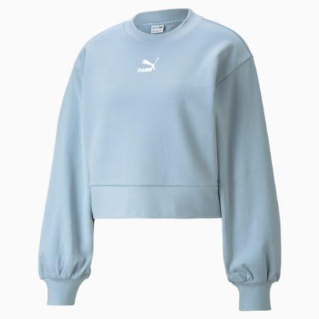 Classics Puff Sleeve Crew Neck Women's Sweatshirt, Blue Fog, small