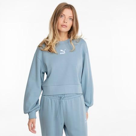Sudadera con cuello redondo y mangas acolchadas ClassicsPuff para mujer, Blue Fog, pequeño