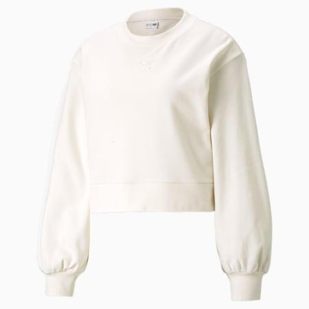 Classics Puff Sleeve Crew Neck Women's Sweatshirt, no color, small