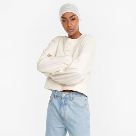 Classics Puff Sleeve Damen Sweatshirt mit Rundhalsausschnitt, no color, small