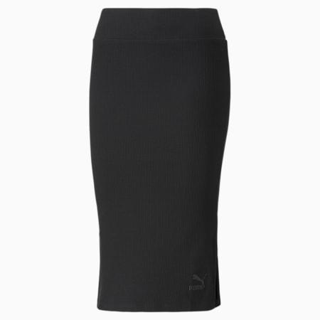 Damska prążkowana spódnica midi Classics, Puma Black, small