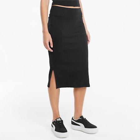 Classics Women's Ribbed Slim Midi Skirt, Puma Black, small-IND