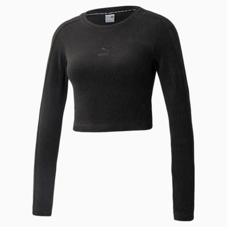 Iconic Velour Long Sleeve Women's Tee, Puma Black, small-GBR