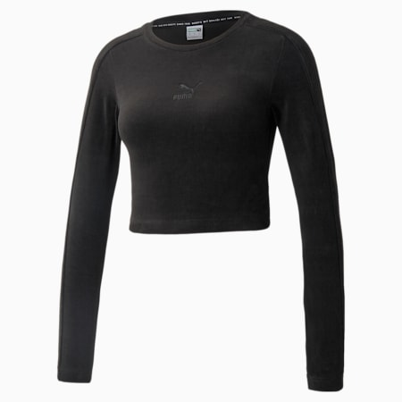 Camiseta de mangas largas de velour Iconic para mujer, Puma Black, pequeño