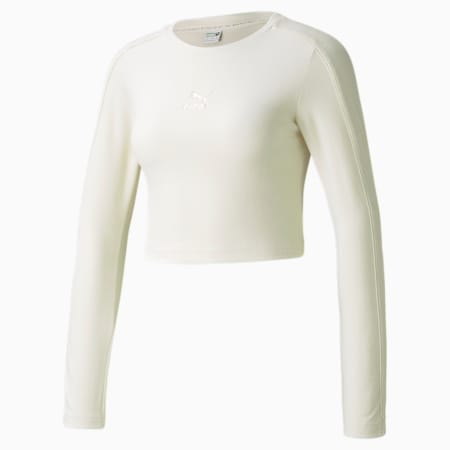 Camiseta de mangas largas de velour Iconic para mujer, Ivory Glow, pequeño