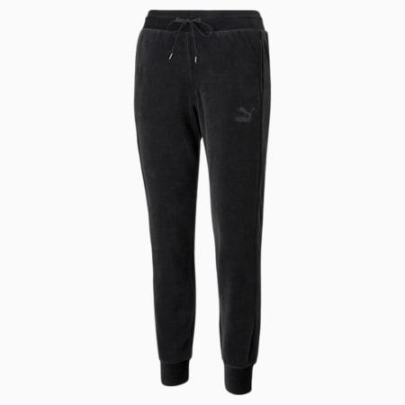 Pantalones Iconic T7 Velour para mujer, Puma Black, pequeño