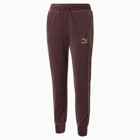 Iconic T7 Velour Women's Pants, Fudge, small-GBR