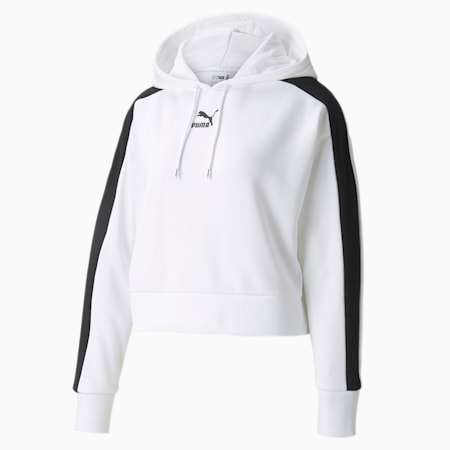 Sudadera con capucha Iconic T7 Cropped para mujer, Puma White, pequeño