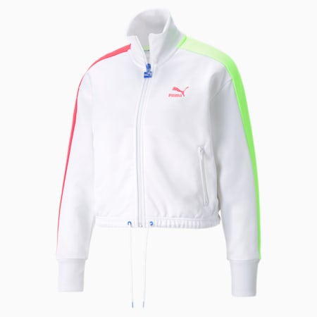 Iconic T7 Cropped PT Women's Jacket, Puma White-Spectra, small