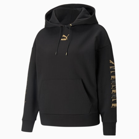 Sudadera con capucha estampada Classics para mujer, Puma Black-dorado, pequeño
