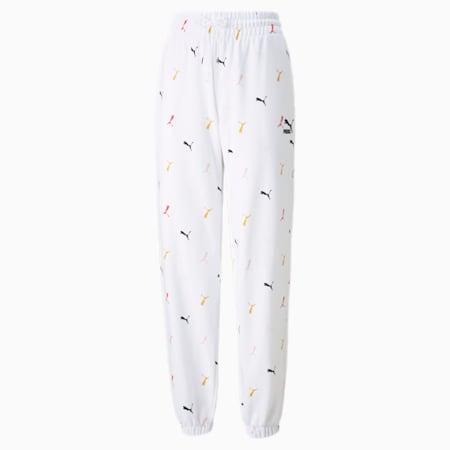 Pantalones estampados Classics para mujer, Puma White, pequeño