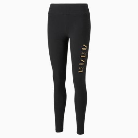 Leggingsestampados clásicos para mujer, Puma Black-dorado, pequeño