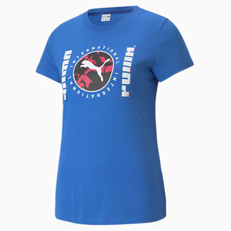 Camiseta estampada PUMA International para mujer, Nebulas Blue, pequeño
