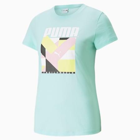 Camiseta estampada PUMA International para mujer, Beach Glass, pequeño