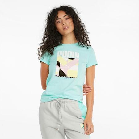 PUMA International Damen T-Shirt mit Grafikprint, Beach Glass, small