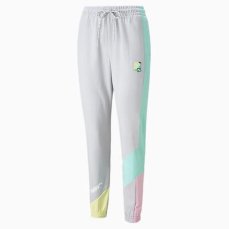 Pantalones deportivos PUMA International para mujer, Gris y violeta, pequeño