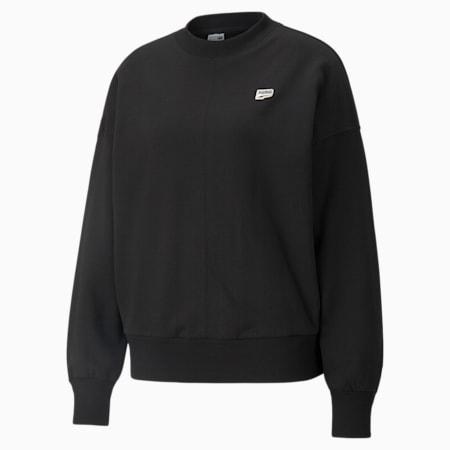 Downtown French Terry Oversized Women's Sweatshirt, Puma Black, small-GBR
