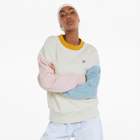 Sweat oversize en French terry Downtown femme, Ivory Glow, small