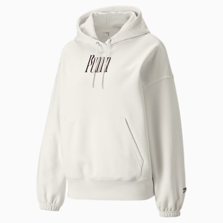 Downtown Graphic Women's Hoodie, Ivory Glow, small