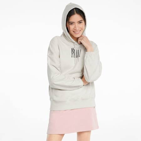 Downtown Graphic Damen Hoodie, Ivory Glow, small