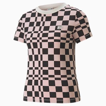 Camiseta estampada Downtown para mujer, Loto, pequeño