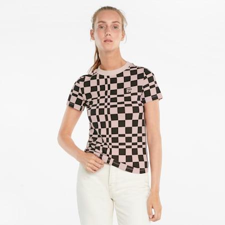 Downtown T-shirt met print dames, Lotus, small