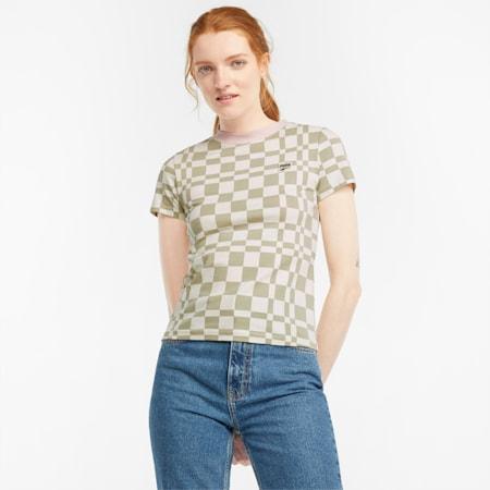 Downtown Printed Damen T-Shirt, Spray Green, small