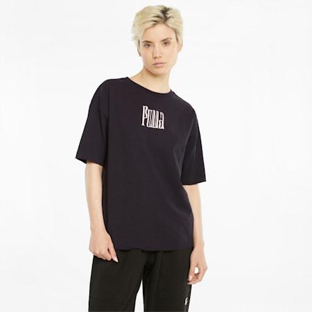 Downtown Damen T-Shirt mit Grafik, Puma Black, small