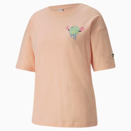 Camiseta estampada Downtown para mujer, Peach Parfait, pequeño